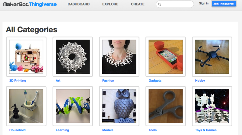 Capture d'écran du site Thingiverse
